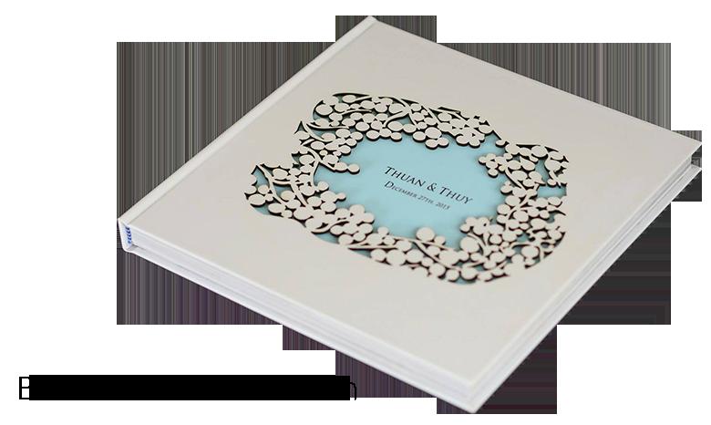 photobook bìa khoét laser hoa văn